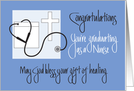 Graduation from Nursing School with Cross & Stethoscope card