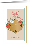 Custom Name Decorated Ornament with Red Bow and Flowers card