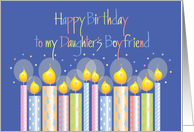 Birthday for Daughter's Boyfriend, Dazzling Patterned Candles card