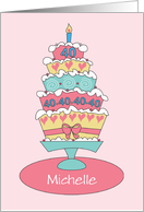 Birthday 40 Year Old Custom Personalized Name Stacked Cake card