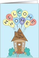 Welcome home from the hospital cards from greeting card universe welcome home from the hospital colorful balloons and cottage card m4hsunfo
