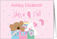 Baby Girl Congratulations, Custom Name with Bunny & Bear card