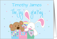 Baby Boy Congratulations, Personalized Name with Bunny & Bear card