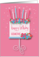 Hand Lettered Birthday for Godmother, Floral Birthday Cake & Candles card