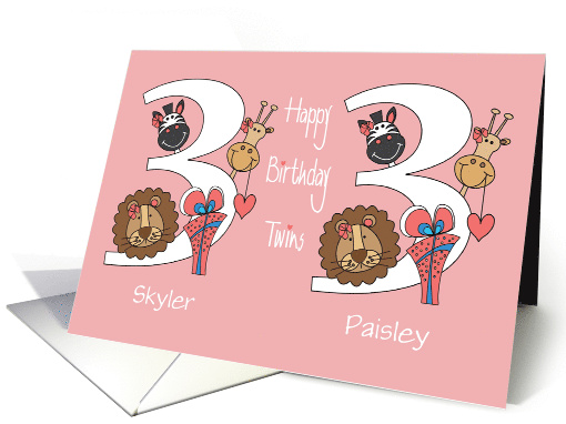 Birthday for 3 Year Old Girl Twins, Custom Names & Zoo Animals card