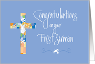 First Sermon Congratulations, Stained Glass Cross on Blue card