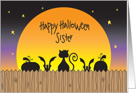 Halloween for Sister, Cat and Pumpkin Silhouettes with Full Moon card
