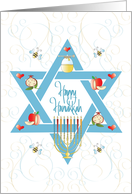Hand Lettered Hanukkah with Menorah, Candles and Star of David card