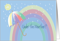 Get Well Under the Weather with Rainbow, Umbrella & Raindrops card