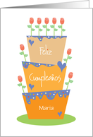 Stacked Cake & Flower Candles in Spanish, with Custom Name card