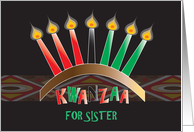 Kwanzaa Sister, Kinara with Colorful Red, Green & Black Candles card