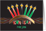 Kwanzaa for Son, Kinara with Red, Green & Black Candles card