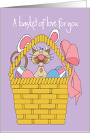 Easter Cat with Bunny Ears, In Colorful Egg Basket with Bow card