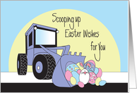 Easter for Boy, Front Loader Scooping Easter Eggs & White Bunny card