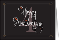 Wedding Anniversary for 4th Anniversary, Hand Lettering & Hearts card