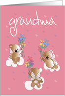 Grandparents Day for Grandma, Angelic Bears with Flowers card