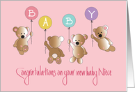 Becoming an Aunt to Baby Niece, Bears with Colorful Balloons card