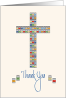 Thank you Volunteer Church Food Pantry, Cross Stacked Cans card