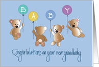 Congratulations on New Grandson, Four Bears & Balloons card