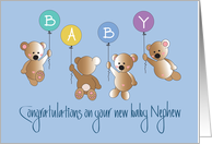 Becoming an Aunt to New Baby Nephew, Flying Bears & Balloons card