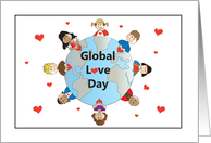 Global Love Day Holiday, World with Children and Hearts card