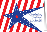Congratulations on Getting Green Card, Patriotic Stars and Stripes card