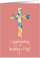 Congratulations Clergy Installation for Priest with Colorful Cross card