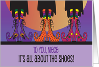 Halloween for Niece, It's all about the Shoes with Witch Boot Fashions card