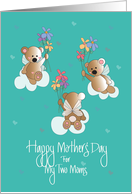 Mother's Day, Gay and Lesbian, For My 2 Moms, with Angel Bears card