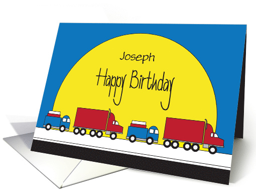 Birthday for Young Boy, Personalized Truck Convoy card (1429358)