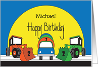 Birthday 2 Year Old Custom Name, Front Loaders & Cement Truck card