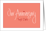 Anniversary of First Date, Hand Lettering with Hearts card