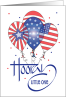 Fourth of July for Kids, Bird in Uncle Sam Hat, Balloons & Fireworks card
