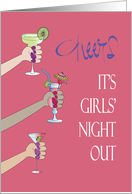 Invitation for Girls' Night Out, with Toasting Arms and Cocktails card