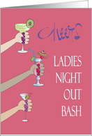 Invitation to Ladies Night Out Bachelorette Bash, Toasting Drinks card
