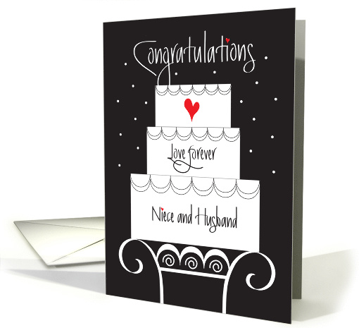 Wedding for Niece & Husband, Tiered Cake on Stand with Heart card