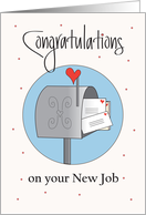 New Job for Postal Service, Mailbox with Heart Stamped Letters card