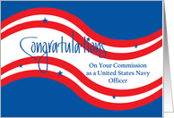Navy Military Commissioning, Red & White Stripes with Blue Stars card