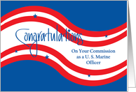 Military Commissioning for Marine Officer, Stars and Stripes card