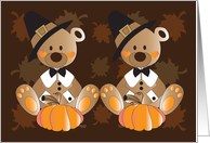 First Thanksgiving for Twins, Two Bears in Pilgrim Hats & Pumpkins card