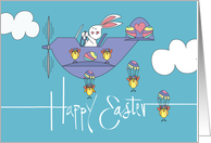 Easter for Boy, Bunny Flying with Easter Egg Decorated Balloons card