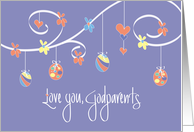 Easter for Godparents, Scrollwork Easter Eggs & Hearts card