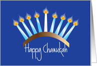 Chanukah on Cobalt Blue, Candle-Filled Menorah & Hand Lettering card