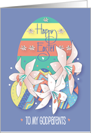 Easter for Godparents, Tall Tulips and Colored Easter Eggs card