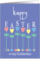Easter for Godmother, Tall Tulips and Colored Easter Eggs card