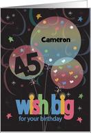 Birthday For 45 Year Old Cheers Glass Stirrer Stick Bubbles Card
