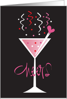 Invitation Galentine's Day Party, Cheers Glass & Heart Stirrer Stick card