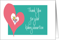 Thank you for Kidney Donation, Heart with Flowers card
