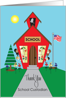 Thank you to School Custodian, Red Old Fashioned School card