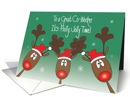 Christmas for Co-Worker, Reindeer & Santa Hats, Holly, Jolly Time card